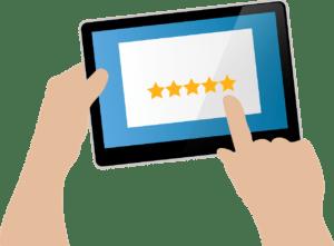 5-Sterne Bewertung auf Tablet